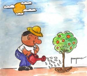 regando-las-plantas